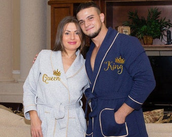 Personalized bath robe, Valentine's Day customized gift, His and hers robes, wedding gift, customized name, couples robes, Gift for him