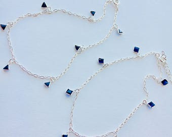 Blue Stone Anklet - Blue Ankle Bracelet for Wedding - Bridesmaid Anklet - Swarovski Anklet - Something Blue for Bride - Blue Jewelry- 0044BA