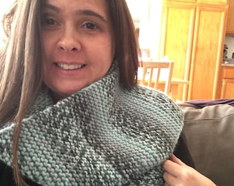 Blue and Gray Knit Scarf