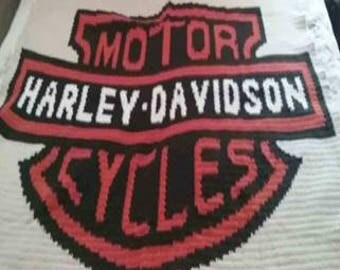 Harley Davidson Motor Cycles Crocheted Blanket