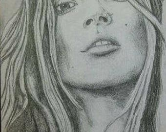 Kate Moss A4 Drawing
