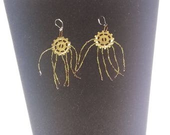 glass and metal drop earrings