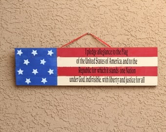 American flag pledge of allegiance rustic wood sign 22x6