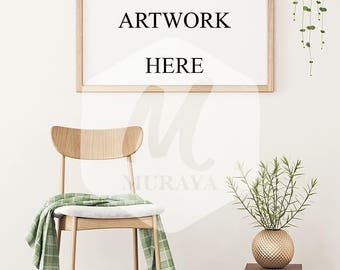 Wood Frame Mockup, Wood Landscape Frame, Styled Stock Photograpy, Scandinavian Style Interior, PSD Mockup, Digital Item, Gold Decor, Plants