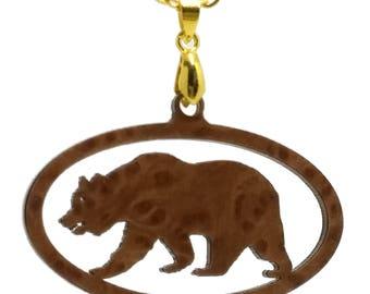 Large California Redwood Burl Wood Pendant on Gold Chain