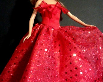 Handmade Barbie Strapless Gown with Satin Bodice, Sparkly Skirt, and Organza Ribbon
