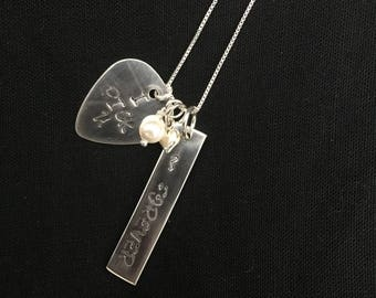 Sterling Silver Hand Stamped Necklace with Pendants