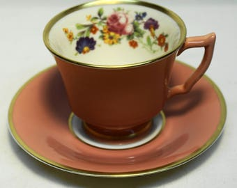 """VINTAGE OLD IVORY Footed Demitasse Cup and Saucer by Syracuse China 2 1/4"""""""