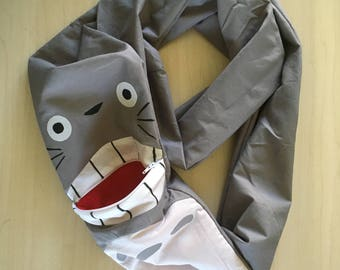 MADE TO ORDER Sugar Glider Bondind Scarf - Bonding Pouch - Bonding Bag - Rat Bonding - Grey Totoro