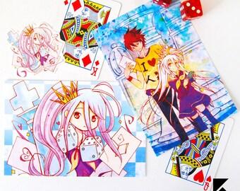 No Game No Life Postcards and Sticker, Sora, Shiro Print Card