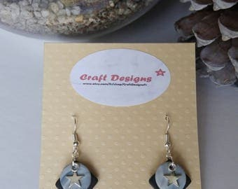 Black polymer clay and faux marble grey + silver charm earrings
