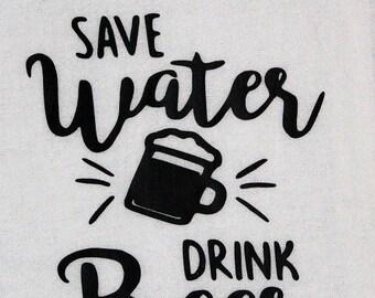 Funny Kitchen Towels, Bar Towels, Kitchen Decor, Funny Bar Decor, Kitchen Gifts, Beer Lovers Gifts, Save Water Drink Beer, Kitchen Love
