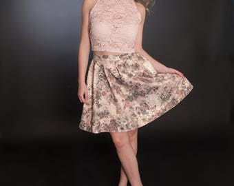Beautyfull Pink lace top and flower skirt
