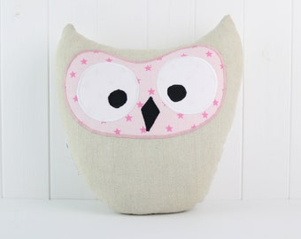 Owl Pillow-Gray and Pink-Home Decor-Cushion Owl