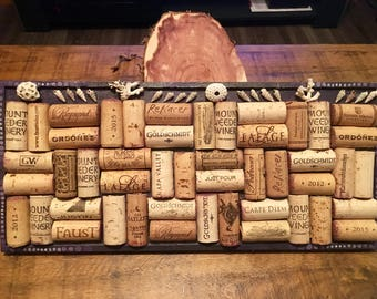 Authentic cork board // wine corks and real shells // handmade