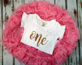 Pink and Gold Glittery Birthday Pettiskirt Onesie and Skirt Set