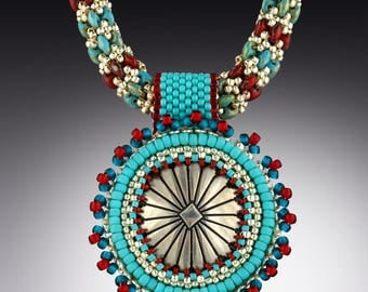 Bead Embroidered  Southwestern Concho on Beaded Rope