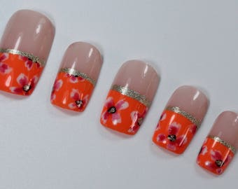 10 Bright Flower Nails, Press On Nails, Glue on Nails, Full Coverage Nails