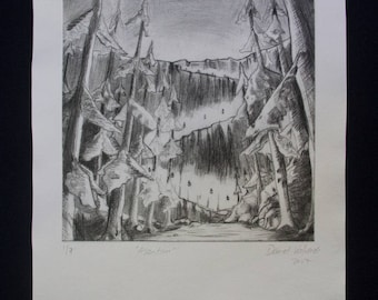 "Drypoint print, ""Ascention"""