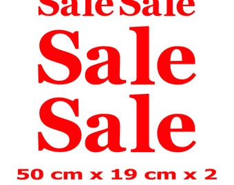 4 x SALE Shop Window Retail Sign Decals High Quality Vinyl Stickers - 50 cm x 19 cm x 2 and 24 cm x 9 cm x 2