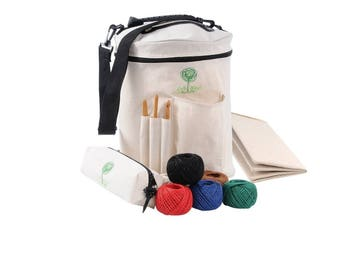 Knitting Bag and Yarn Storage Tote Craft Organizer for Carrying Skeins, Knitting Needles and Crochet Hooks