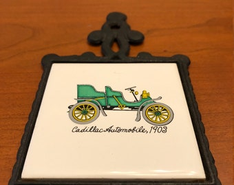 Vintage 1903 Cadillac Wall Art- Trivet - Tile and Cast Iron Decoration