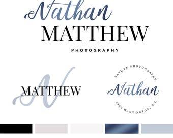 Branding Kit Template, Photography Logo, Photographer Logo, Branding Kit, Blue Gold Logo, Premade Logo, 3 Logos, INSTANT DOWNLOAD, DIY Logo