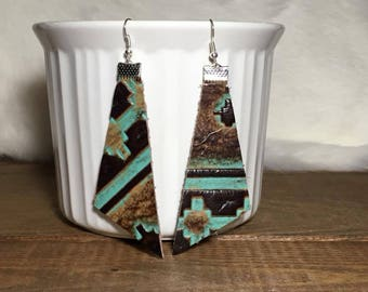 turquoise and brown leather dangle earrings
