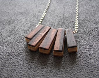 Necklace wood, wood, small parts, laminated, natural wax jewelry glued, recycling, original
