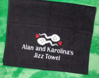 Mature Personalised Embroidered Couples Jizz Towel. Cum Cloth. Valentine or Birthday gift for men and women. Customised Wank Towel