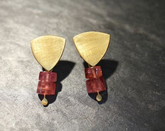 Gold earrings with Tourmaline