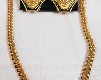 Vintage Hexagon Lion Necklace & Clip on Earrings Demi- Parure Set