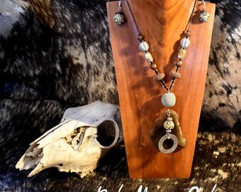 Boho Style Leather, Wood, Metal, and Stone Necklace and Earring Set- Faith, Hope, & Love