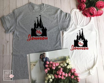 Couples Gift Set, Matching Shirts, Disney Custom Couple, Couple Tees, Groom Bride Tees, Wedding Tees, Mr Mrs Est Custom, Hubby Wife C6