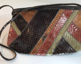DECO Geometric Snakeskin Long Strap shades of Earth Andé Purse