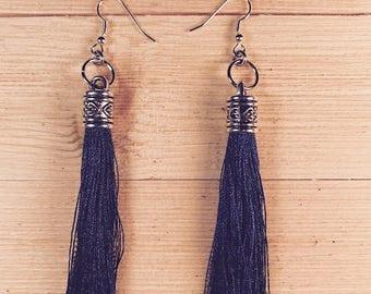 Tassel earrings. Navy blue earrings, Bold earrings, drop earrings, long earrings, Boho