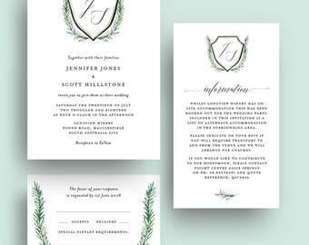 Crest Monogram Greenery Wedding Invitation Printable Template