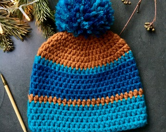 Custom-made Beanie Blue / Brown