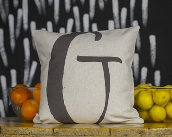 "Unique typography letters from alphabet, your choice of the letter, black & white, 16x16"", Cotton cushion cover"