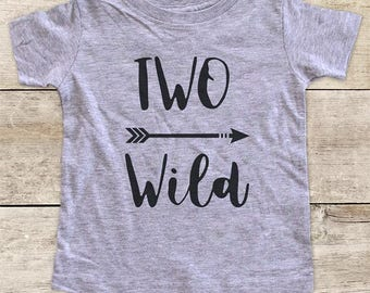 TWO Wild with Right Arrow boho Second 2nd Birthday Shirt for Boy or Girl - bohemian hipster hippie kids youth birthday shirt