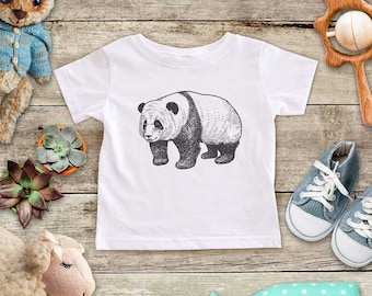 Panda Illustration graphic Zoo animal wild kingdom Shirt - Baby bodysuit Toddler youth Shirt cute birthday baby shower gift
