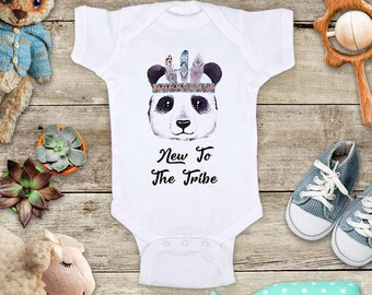 New To The Tribe Panda boho hipster hippie new baby Cute Baby bodysuit shirt - cute baby shower gift baby birth pregnancy announcement