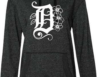 Detroit D With Michigan State Flower Apple Blossoms Glitter Hoodie