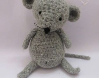 AMIGURUMI Mus the MOUSE EddaBohoDeco crochet doll baby grey WOOL hand made Babyshower