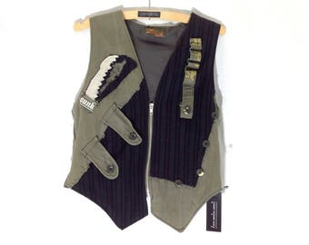 Waistcoat | Up-cycled Military Surplus | One-off Unique Design Large