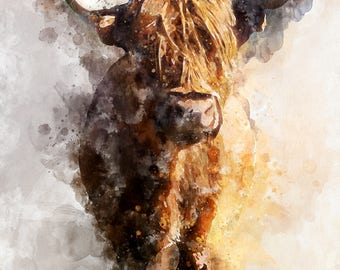 Greetings Cards, Wildlife, Highland Cow, Scotland, Watercolour, Painting