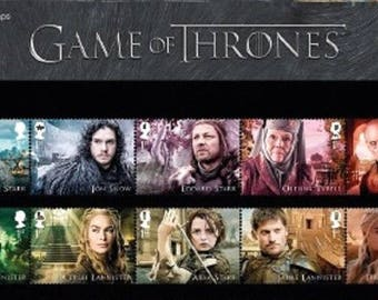 Game of Thrones Stamps in gift presentation pack. Collectible 1st Class Stamps by the Royal Mail