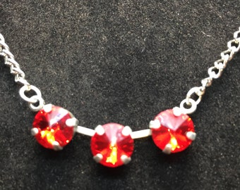 Red 8mm Swarovski Crystal Necklace