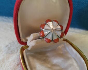 Silver Zuni Style Coral and Mother of Pearl Ring – Southwest Jewelry–Silver Ring –Zuni Inlay–Great gifts–Vintage Silver-70s Jewelry- Coral