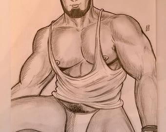 GAY MALE ART Original Sketch Muscle Bear Sexy Drawing Lgbt Hot Beard - Pencils - Big Pecs Thick Thighs Thong